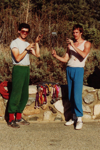 Owen and Savage, and the levitating nut - Punchbowl Parking Lot mid-80's<br> (c) Mark Goss