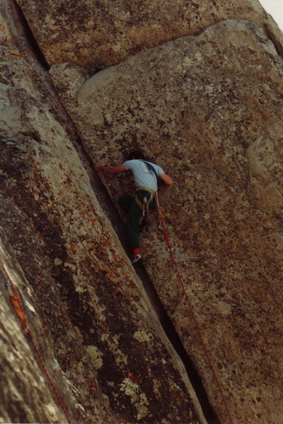 Rock Climbing Photo: Owen follows on Slot Machine - mid 80's (c) Chris ...