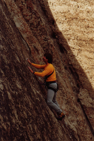 Rock Climbing Photo: Mark Goss leads Velcro mid 80's (c) Chris Savage