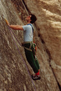 Rock Climbing Photo: Chris Owen leads Velcro, mid 80's (c) Chris Savage