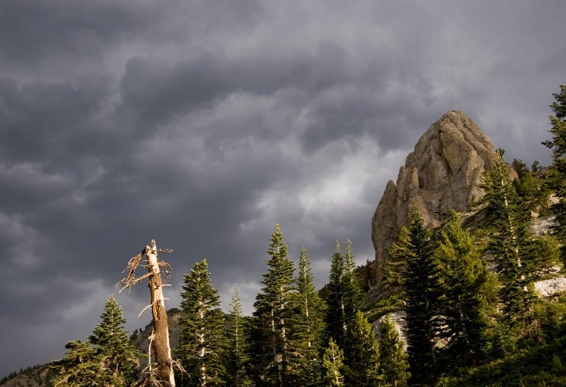 Ominous stormy skies above Mammoth Rock.