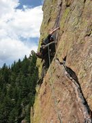 Rock Climbing Photo: Leading P3 of Rewritten just past the famous hand ...