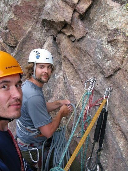 Rock Climbing Photo: Dustin and Levi at belay station