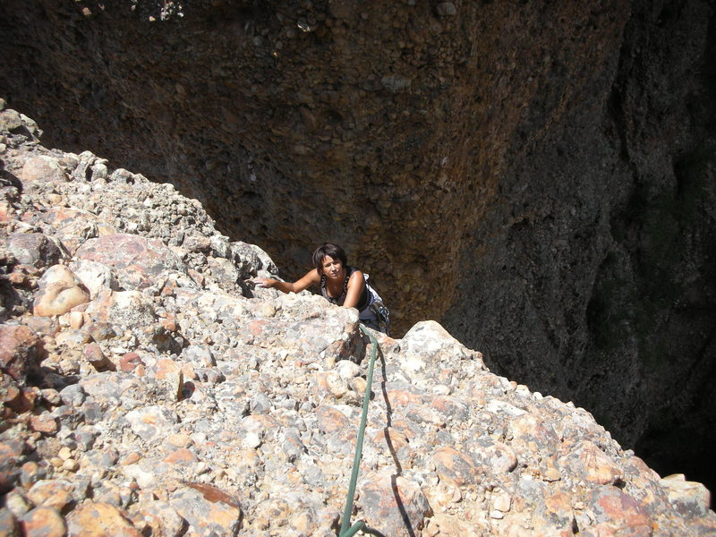 Rock Climbing Photo: Martha topping out on the last pitch.