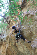 Rock Climbing Photo: Anna tackling the overhang.