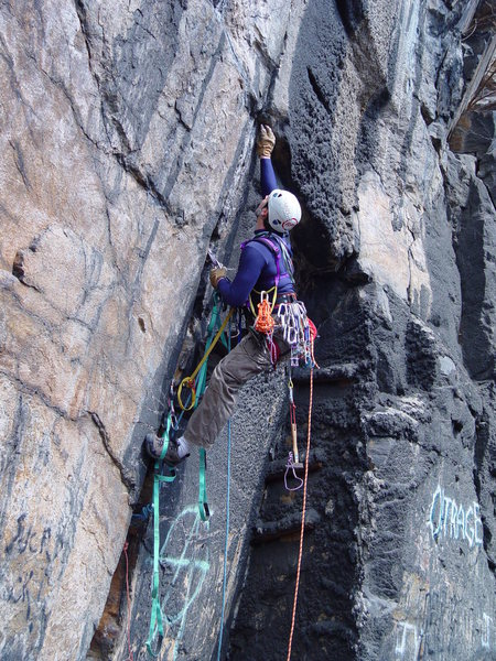 Rock Climbing Photo: Pulling on thin gear on Center Stage and All Alone