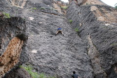 Rock Climbing Photo: Mid route, it stays pretty consistent in difficult...