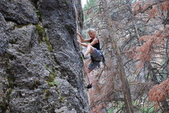 Rock Climbing Photo: working thru the lower section.