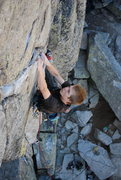 Rock Climbing Photo: Starting up the thin crack of Panic in Detroit on ...
