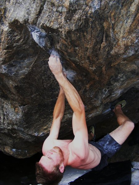 Rock Climbing Photo: Tcamillieri at the crux on Riddles in the Dark.  P...
