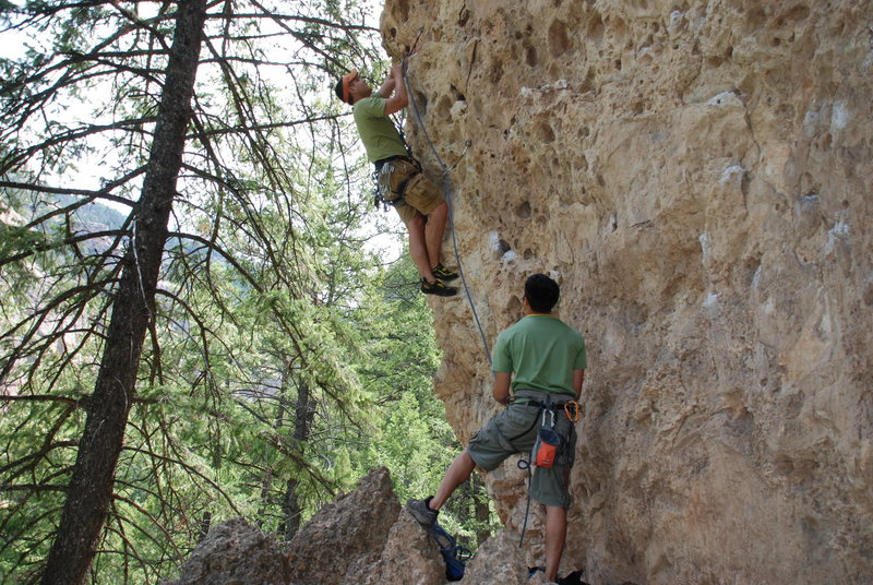Rock Climbing Photo: Moving past the 2nd bolt