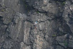Rock Climbing Photo: John works his way up to the P2 belay on Spectacul...