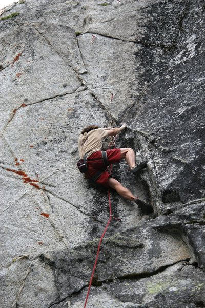 Starting up the hanging groove of Anger Management, 5.12a