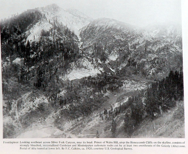 1920 photo of the Alta Tunnel and the west facing cliff.<br> Not as many trees then.