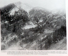 1920 photo of the Alta Tunnel and the west facing cliff. <br />Not as many trees then.