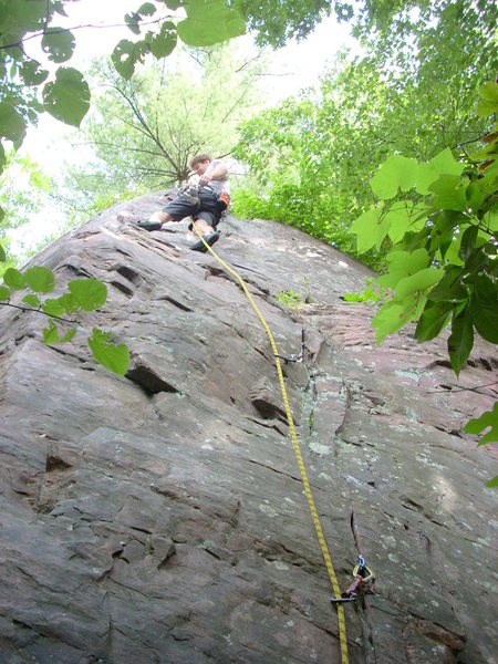 Rock Climbing Photo: Rhoads, before down-climbing per the overgrown top...
