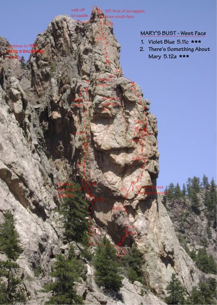 Mary's Bust - West Face Topo.<br> [[Violet Blue]]105976231  5.11c  ***.<br> There's Something About Mary  5.12a  ***.