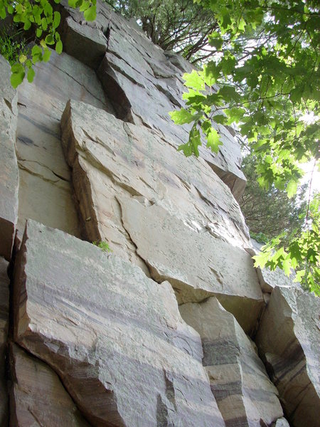 Rock Climbing Photo: Purple Stripe goes up the zig-zags (start left or ...