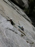 Rock Climbing Photo: noal leading pitch two.