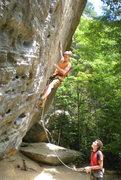Rock Climbing Photo: Cruxing on Synchronicity. Photo by Tina
