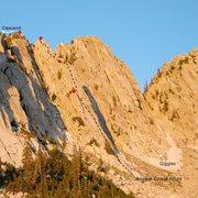 Rock Climbing Photo: Basque Cirque Route beta (P2 alternate shown in ye...