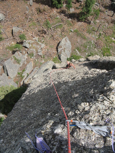 Face climbing the upper half.