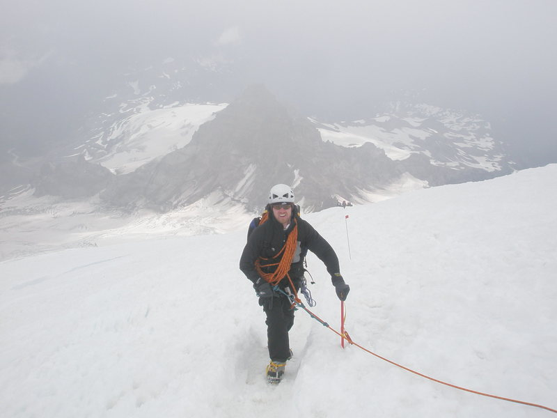 On the Switchbacks of the summit snowfield above the Ingraham glacier.