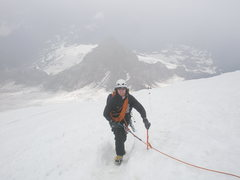 Rock Climbing Photo: On the Switchbacks of the summit snowfield above t...
