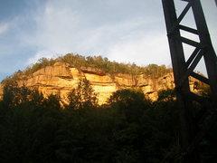 Rock Climbing Photo: O&W Wall from railbed bridge