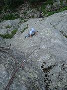 Rock Climbing Photo: Lin deciding left or right? (Both work.)