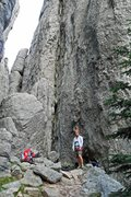 Rock Climbing Photo: Brenda at the base of the chimney ready for Pitch ...