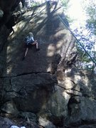 Rock Climbing Photo: Lily working out the moves of our new hyper-slab r...