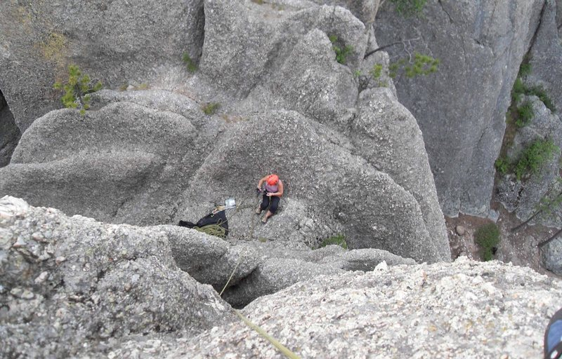 Rock Climbing Photo: Looking down to the base of the climb as my second...