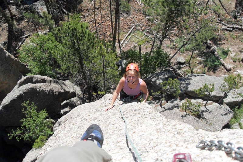 Rock Climbing Photo: Brenda starts the final push to the summit of the ...