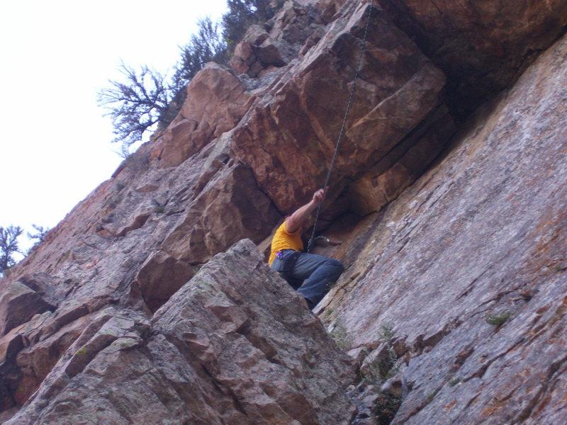 Rock Climbing Photo: Richard under the roof on apex.