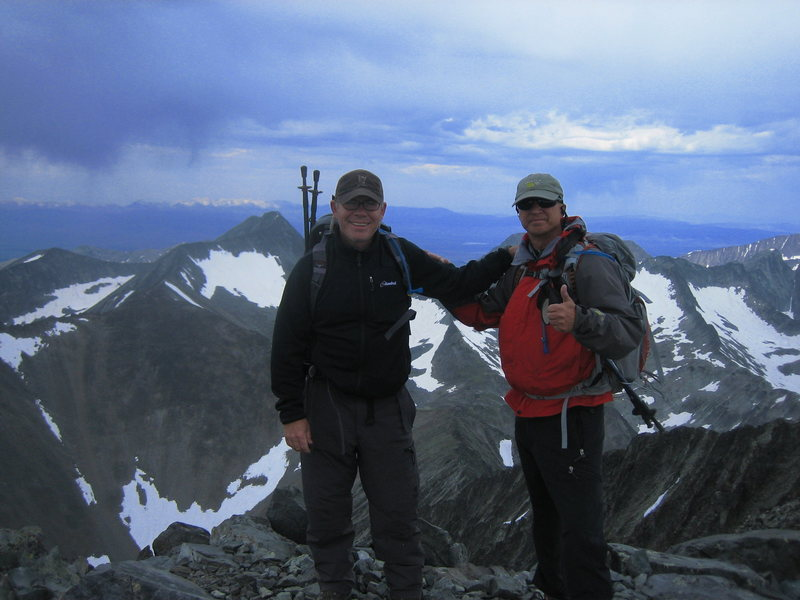 """No.  Not in Wisconsin.  Summit Shot of Wisco Climbers Pat Geoghegan and myself on Crazy Peak in Montana.  Crazy (11,209) is the high point in the Crazies and the most """"prominant"""" in Montana."""