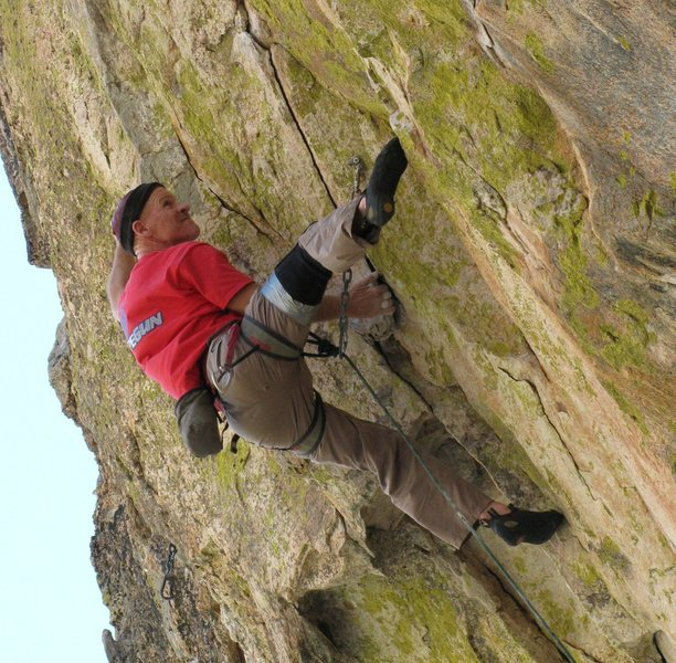 Rock Climbing Photo: Eyeing the next undercling on the crux of Coup d'e...
