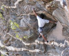 Rock Climbing Photo: Pete makes a long move on the bottom of Oedipus.