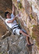 Rock Climbing Photo: Starting the crux moves of Oedipus.