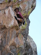 Rock Climbing Photo: Scrunched up to get through the bulges.  Photo by ...