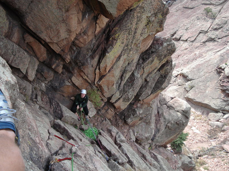 About halfway up the second pitch of 'Breezy'. Very nice pitch!