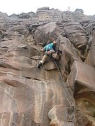 Rock Climbing Photo: Climbing up the route after the low crux moves in ...