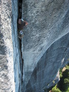 Rock Climbing Photo: Jon past the crux on Pipeline.