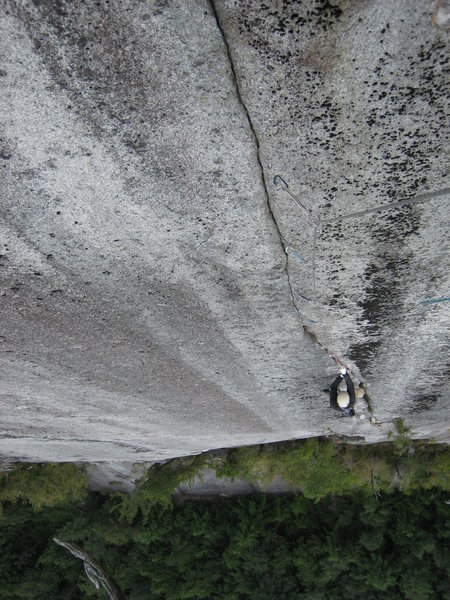 Jon on pitch 6 of the superb piton scarred finger crack.