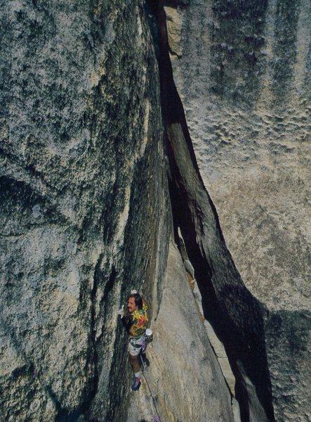 Starting the crux.  Climber: Darrell Hensel.  Photo: Greg Epperson.