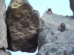 Rock Climbing Photo: Paul Huebner belaying Lenore Sobota up to the top ...