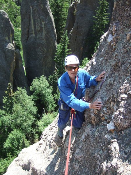 Dave Meyer, closing in on his 81st birthday, nearing the intermediate belay on Creeping Senility. (Photo by Anne Meyer)