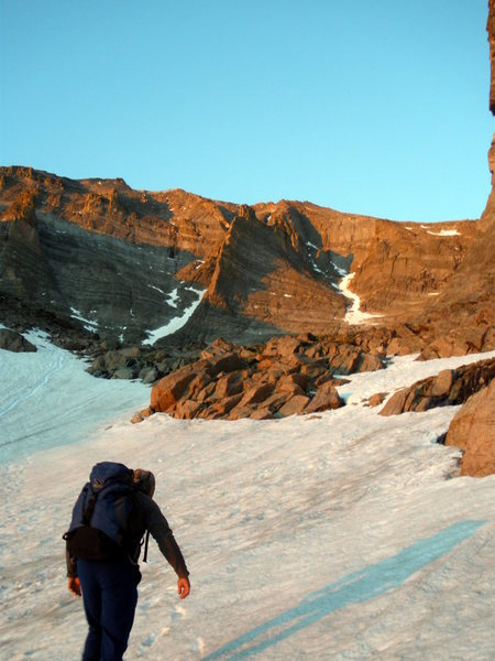 Rock Climbing Photo: Douglas hiking up to Flying Buttress! Around the 4...