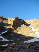 Rock Climbing Photo: The route follows the left side of the ridge.  Alm...