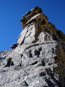 Rock Climbing Photo: Douglas heading up the crux pitch.  Carry a #3 cam...